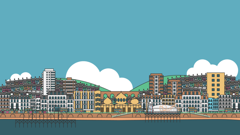 Flat illustration of Brighton seafront