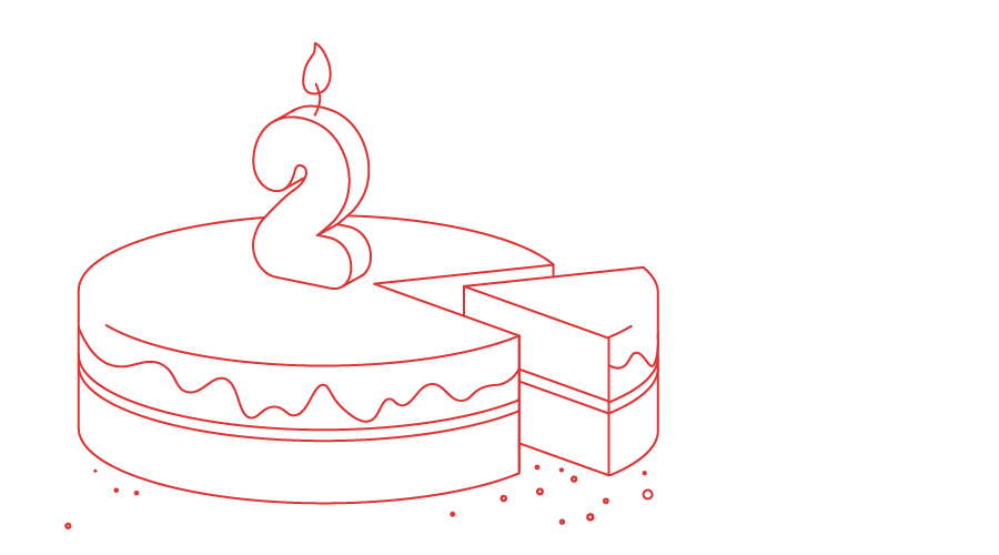 illustration of a cake with a candle on it shaped as the number 2