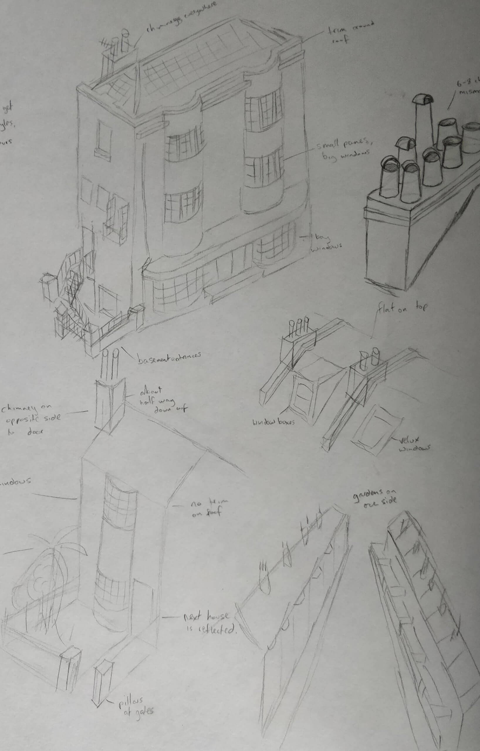 Sketches of buildings and architectural features.