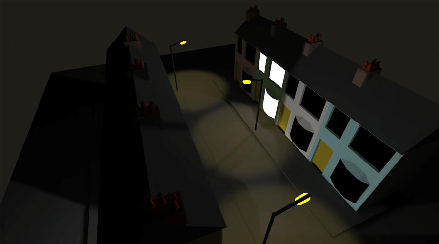 3D model of rows of houses at night