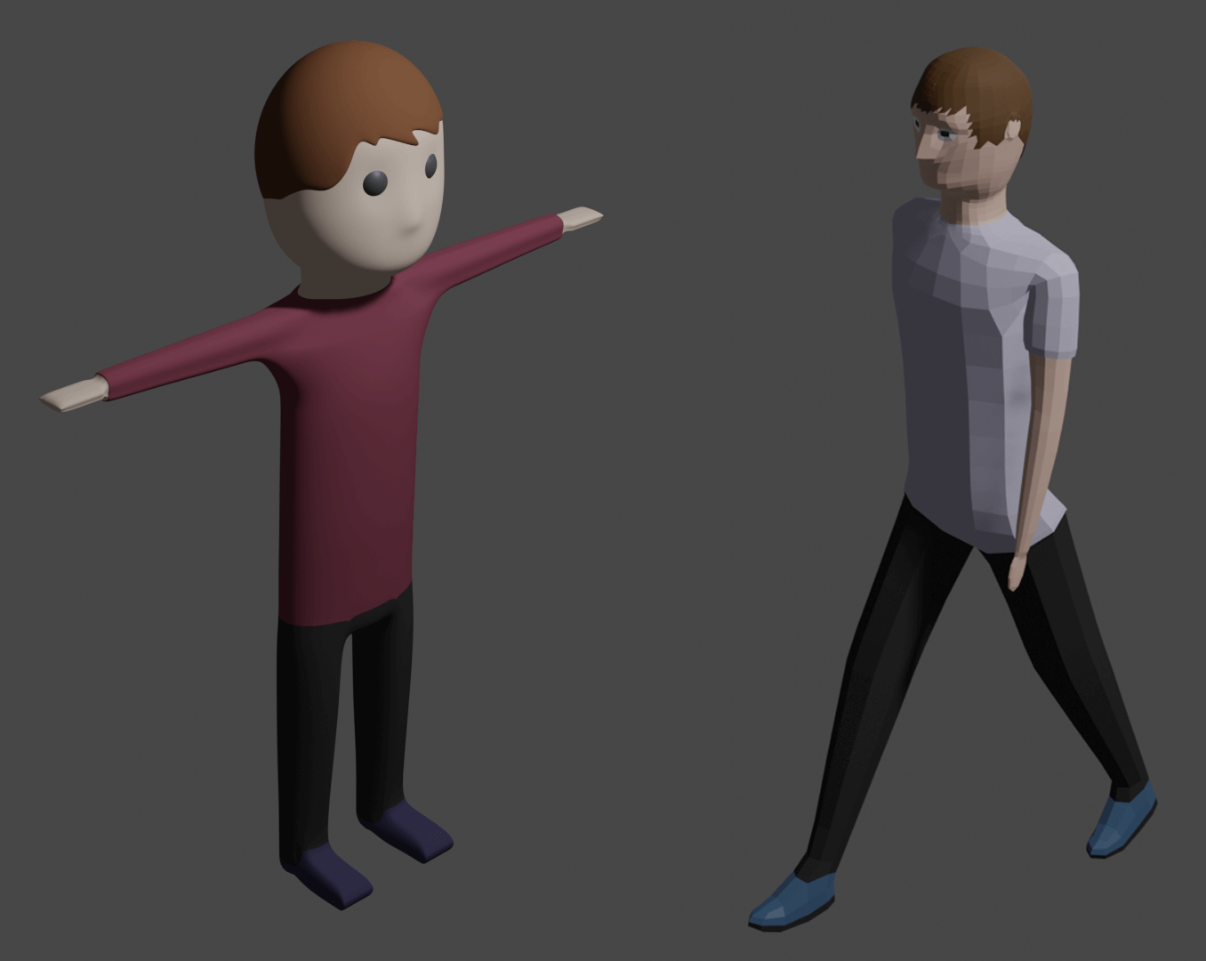 Two 3D characters